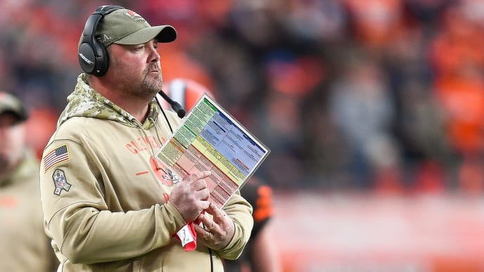 DENVER, CO - NOVEMBER 3:  Head coach Freddie Kitchens of the Cleveland Browns works along the sideline in the third quarter of a game against the Denver Broncos at Empower Field at Mile High on November 3, 2019 in Denver, Colorado.  (Photo by Dustin Bradford/Getty Images)