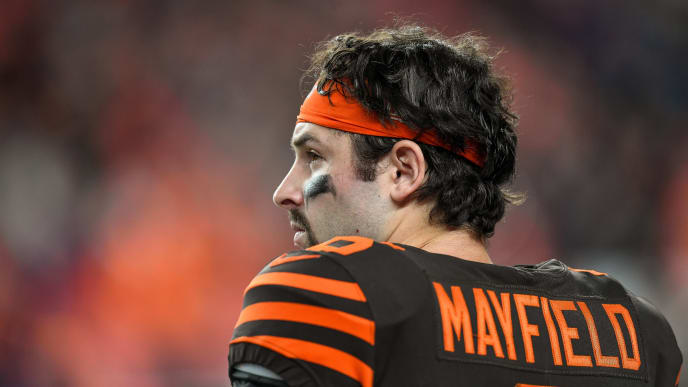 DENVER, CO - NOVEMBER 3:  Baker Mayfield #6 of the Cleveland Browns looks on from the sideline late in the fourth quarter of a game against the Denver Broncos at Empower Field at Mile High on November 3, 2019 in Denver, Colorado.  (Photo by Dustin Bradford/Getty Images)