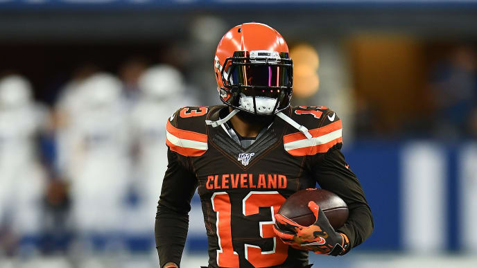 INDIANAPOLIS, INDIANA - AUGUST 17:  Odell Beckham Jr. #13 of the Cleveland Browns participates in warmups prior to a game against the Indianapolis Colts at Lucas Oil Stadium on August 17, 2019 in Indianapolis, Indiana. (Photo by Stacy Revere/Getty Images)