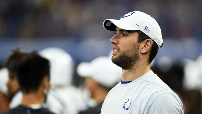 INDIANAPOLIS, INDIANA - AUGUST 17:  Andrew Luck #12 of the Indianapolis Colts watches action during a game against the Cleveland Browns at Lucas Oil Stadium on August 17, 2019 in Indianapolis, Indiana. (Photo by Stacy Revere/Getty Images)