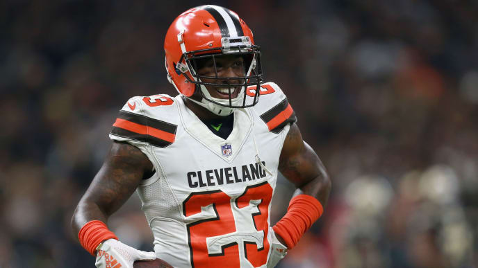 NEW ORLEANS, LA - SEPTEMBER 16: Damarious Randall #23 of the Cleveland Browns smiles on the field during the second quarter against the New Orleans Saints  at Mercedes-Benz Superdome on September 16, 2018 in New Orleans, Louisiana.  (Photo by Sean Gardner/Getty Images)