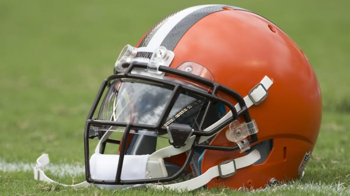 PHILADELPHIA, PA - SEPTEMBER 11: A Cleveland Browns helmet rests on the field prior to the game against the Philadelphia Eagles at Lincoln Financial Field on September 11, 2016 in Philadelphia, Pennsylvania. The Eagles defeated the Browns 29-10. (Photo by Mitchell Leff/Getty Images)