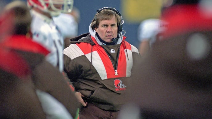 PITTSBURGH, PA - DECEMBER 18:  Head coach Bill Belichick of the Cleveland Browns looks on from the sideline during a game against the Pittsburgh Steelers at Three Rivers Stadium on December 18, 1994 in Pittsburgh, Pennsylvania. The Steelers defeated the Browns 17-7.  (Photo by George Gojkovich/Getty Images)