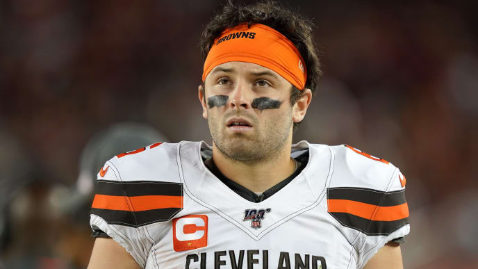 SANTA CLARA, CALIFORNIA - OCTOBER 07: Baker Mayfield #6 of the Cleveland Browns looks on from the sidelines against the San Francisco 49ers during the third quarter of an NFL football game at Levi's Stadium on October 07, 2019 in Santa Clara, California. (Photo by Thearon W. Henderson/Getty Images)