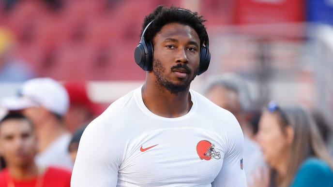SANTA CLARA, CALIFORNIA - OCTOBER 07: Myles Garrett #95 of the Cleveland Browns looks on during the warm up against the San Francisco 49ers at Levi's Stadium on October 07, 2019 in Santa Clara, California. (Photo by Lachlan Cunningham/Getty Images)