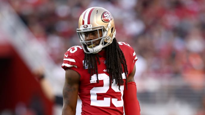 SANTA CLARA, CALIFORNIA - OCTOBER 07:  Richard Sherman #25 of the San Francisco 49ers stands on the field during their game against the Cleveland Browns at Levi's Stadium on October 07, 2019 in Santa Clara, California. (Photo by Ezra Shaw/Getty Images)