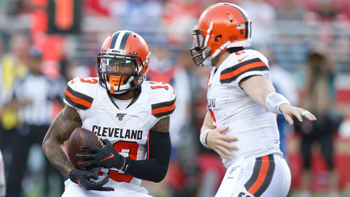 SANTA CLARA, CALIFORNIA - OCTOBER 07: Odell Beckham Jr. #13 of the Cleveland Browns takes a handoff from quarterback Baker Mayfield #6 on the first play of the game against the San Francisco 49ers at Levi's Stadium on October 07, 2019 in Santa Clara, California. (Photo by Lachlan Cunningham/Getty Images)