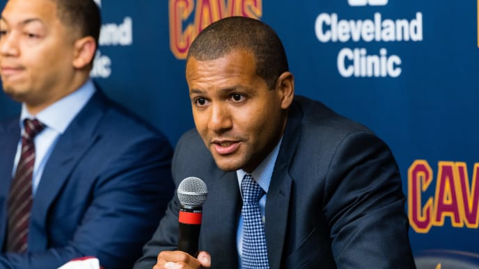 INDEPENDENCE, OH - SEPTEMBER 7: Cleveland Cavaliers general manager Koby Altman answers questions during a press conference to introduce Isaiah Thomas, Jae Crowder & Ante Zizic at Cleveland Clinic Courts on September 7, 2017 in Independence, Ohio. NOTE TO USER: User expressly acknowledges and agrees that, by  downloading and or using this photograph, User is consenting to the  terms and conditions of the Getty Images License Agreement. (Photo by Jason Miller/Getty Images)