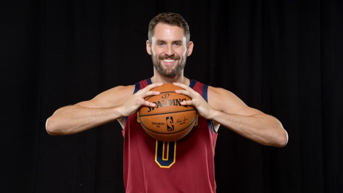 INDEPENDENCE, OHIO - SEPTEMBER 30: Kevin Love #0 of the Cleveland Cavaliers during Cleveland Cavaliers Media Day at Cleveland Clinic Courts on September 30, 2019 in Independence, Ohio. NOTE TO USER: User expressly acknowledges and agrees that, by downloading and/or using this photograph, user is consenting to the terms and conditions of the Getty Images License Agreement. (Photo by Jason Miller/Getty Images)