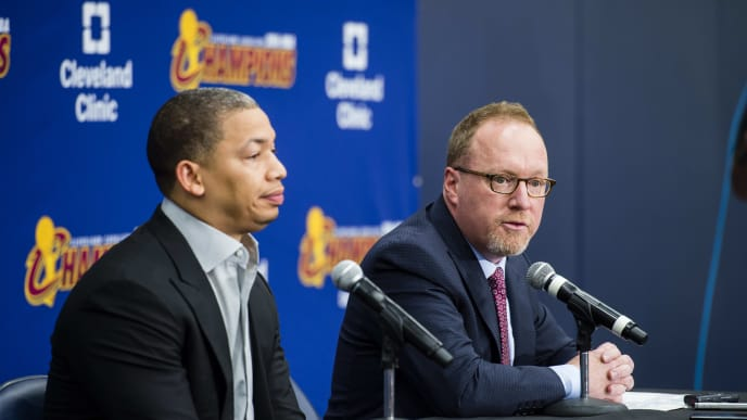 CLEVELAND, OH - SEPTEMBER 26: Head coach Tyronn Lue of the Cleveland Cavaliers and general manager David Griffin during media day at Cleveland Clinic Courts on September 26, 2016 in Cleveland, Ohio. NOTE TO USER: User expressly acknowledges and agrees that, by downloading and/or using this photograph, user is consenting to the terms and conditions of the Getty Images License Agreement. Mandatory copyright notice. (Photo by Jason Miller/Getty Images)