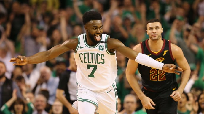 BOSTON, MA - MAY 23:  Jaylen Brown #7 of the Boston Celtics reacts after making a three point basket in the first half against the Cleveland Cavaliers during Game Five of the 2018 NBA Eastern Conference Finals at TD Garden on May 23, 2018 in Boston, Massachusetts. NOTE TO USER: User expressly acknowledges and agrees that, by downloading and or using this photograph, User is consenting to the terms and conditions of the Getty Images License Agreement.  (Photo by Maddie Meyer/Getty Images)