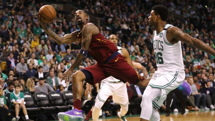 BOSTON, MA - MAY 13:  JR Smith #5 of the Cleveland Cavaliers attempts a shot past Marcus Smart #36 of the Boston Celtics during the second quarter in Game One of the Eastern Conference Finals of the 2018 NBA Playoffs at TD Garden on May 13, 2018 in Boston, Massachusetts.  (Photo by Maddie Meyer/Getty Images)