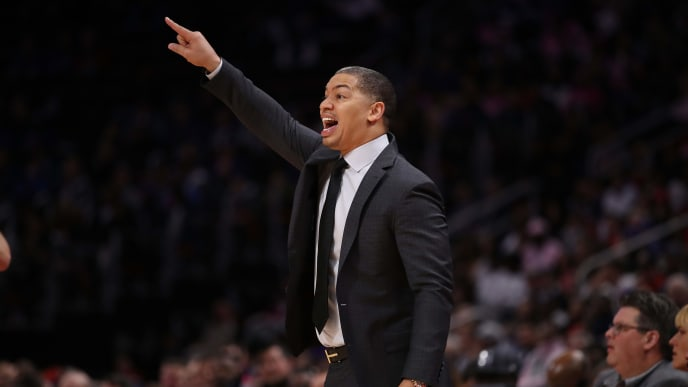 DETROIT, MI - OCTOBER 25:  Head coach Tyronn Lue of the Cleveland Cavaliers reacts from the bench while playing the Detroit Pistons at Little Caesars Arena on October 25, 2018 in Detroit, Michigan. Detroit won the game 110-103. NOTE TO USER: User expressly acknowledges and agrees that, by downloading and or using this photograph, User is consenting to the terms and conditions of the Getty Images License Agreement. (Photo by Gregory Shamus/Getty Images)