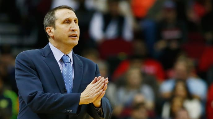 HOUSTON, TX - JANUARY 15:  Head coach David Blatt of the Cleveland Cavaliers watches the play on the court during their game against the Houston Rockets at the Toyota Center on January 15, 2016  in Houston, Texas. NOTE TO USER: User expressly acknowledges and agrees that, by downloading and or using this Photograph, user is consenting to the terms and conditions of the Getty Images License Agreement.  (Photo by Scott Halleran/Getty Images)
