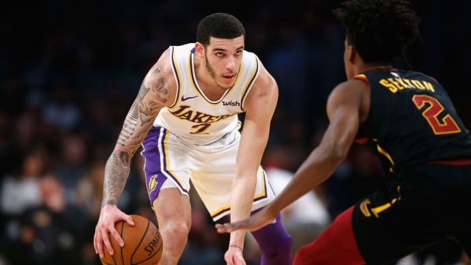 LOS ANGELES, CA - JANUARY 13:  Lonzo Ball #2 of the Los Angeles Lakers dribbles as Collin Sexton #2 of the Cleveland Cavaliers defends during the first half of a game at Staples Center on January 13, 2019 in Los Angeles, California.  NOTE TO USER: User expressly acknowledges and agrees that, by downloading and or using this photograph, User is consenting to the terms and conditions of the Getty Images License Agreement.  (Photo by Sean M. Haffey/Getty Images)