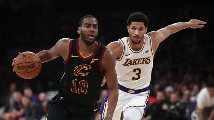 LOS ANGELES, CA - JANUARY 13:  Alec Burks #10 of the Cleveland Cavaliers dribbles past Josh Hart #3 of the Los Angeles Lakers during the second half of a game at Staples Center on January 13, 2019 in Los Angeles, California.  NOTE TO USER: User expressly acknowledges and agrees that, by downloading and or using this photograph, User is consenting to the terms and conditions of the Getty Images License Agreement.  (Photo by Sean M. Haffey/Getty Images)