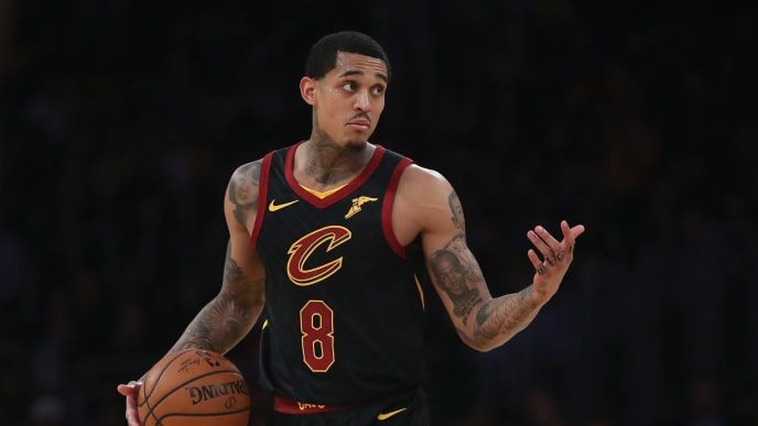 LOS ANGELES, CA - JANUARY 13:  Jordan Clarkson #8 of the Cleveland Cavaliers looks on during the second half of a game against the Los Angeles Lakers at Staples Center on January 13, 2019 in Los Angeles, California.  NOTE TO USER: User expressly acknowledges and agrees that, by downloading and or using this photograph, User is consenting to the terms and conditions of the Getty Images License Agreement.  (Photo by Sean M. Haffey/Getty Images)