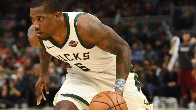 MILWAUKEE, WISCONSIN - OCTOBER 28:  Eric Bledsoe #6 of the Milwaukee Bucks handles the ball during a game against the Cleveland Cavaliers at Fiserv Forum on October 28, 2019 in Milwaukee, Wisconsin. NOTE TO USER: User expressly acknowledges and agrees that, by downloading and or using this photograph, User is consenting to the terms and conditions of the Getty Images License Agreement. (Photo by Stacy Revere/Getty Images)