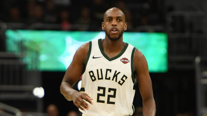 MILWAUKEE, WISCONSIN - OCTOBER 28:  Khris Middleton #22 of the Milwaukee Bucks handles the ball during a game against the Cleveland Cavaliers at Fiserv Forum on October 28, 2019 in Milwaukee, Wisconsin. NOTE TO USER: User expressly acknowledges and agrees that, by downloading and or using this photograph, User is consenting to the terms and conditions of the Getty Images License Agreement. (Photo by Stacy Revere/Getty Images)