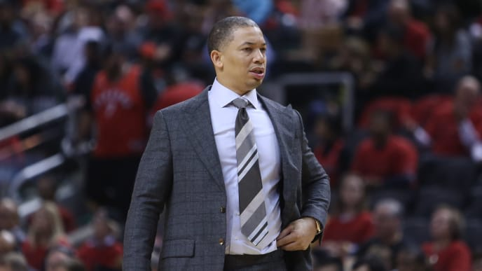 TORONTO, ON - OCTOBER 17:  Head Coach Tyronn Lue of the Cleveland Cavaliers looks on in the second half of the NBA season opener against the Toronto Raptors at Scotiabank Arena on October 17, 2018 in Toronto, Canada.  NOTE TO USER: User expressly acknowledges and agrees that, by downloading and or using this photograph, User is consenting to the terms and conditions of the Getty Images License Agreement.  (Photo by Vaughn Ridley/Getty Images)