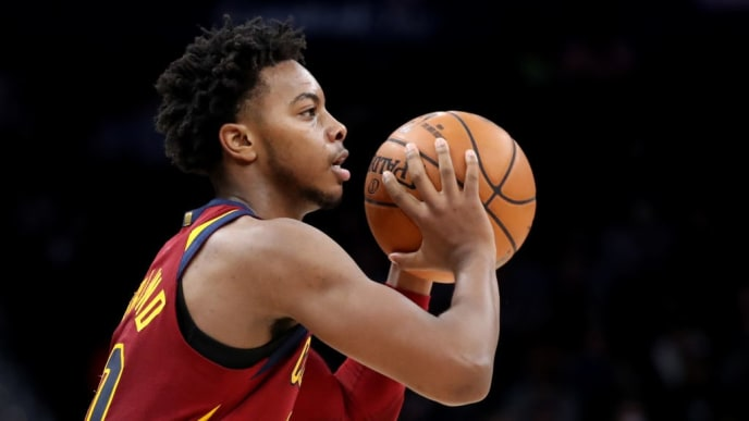 WASHINGTON, DC - NOVEMBER 08: Darius Garland #10 of the Cleveland Cavaliers looks to pass against the Washington Wizards in the second half  at Capital One Arena on November 08, 2019 in Washington, DC. NOTE TO USER: User expressly acknowledges and agrees that, by downloading and/or using this photograph, user is consenting to the terms and conditions of the Getty Images License Agreement. (Photo by Rob Carr/Getty Images)