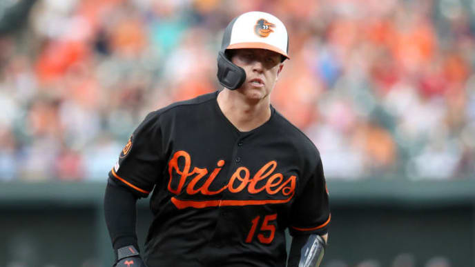 BALTIMORE, MARYLAND - JUNE 28: Chance Sisco #15 of the Baltimore Orioles rounds the bases after hitting a two RBI home run against the Cleveland Indians in the first inning at Oriole Park at Camden Yards on June 28, 2019 in Baltimore, Maryland. (Photo by Rob Carr/Getty Images)