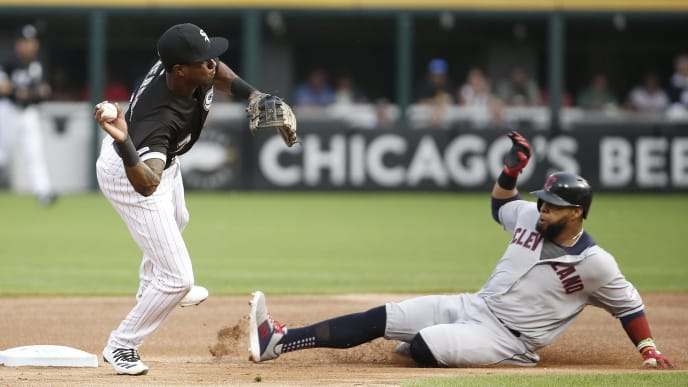 CHICAGO, ILLINOIS - MAY 31: Carlos Santana #41 of the Cleveland Indians is out at second base as Tim Anderson #7 of the Chicago White Sox throws to first base on a fielder's choice during the first inning at Guaranteed Rate Field on May 31, 2019 in Chicago, Illinois. (Photo by Nuccio DiNuzzo/Getty Images)