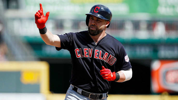 CINCINNATI, OH - JULY 07: Jason Kipnis #22 of the Cleveland Indians reacts after hitting a solo home run in the eighth inning against the Cincinnati Reds at Great American Ball Park on July 7, 2019 in Cincinnati, Ohio. The Indians won 11-1. (Photo by Joe Robbins/Getty Images)