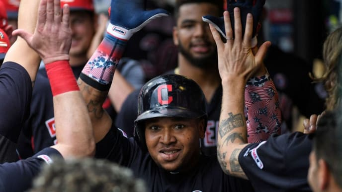 KANSAS CITY, MO - JULY 04: Jose Ramirez #11 of the Cleveland Indians celebrates with teammates after his home run pushed their lead to 8-3 over the Kansas City Royals during the seventh inning at Kauffman Stadium on July 4, 2019 in Kansas City, Missouri. (Photo by Reed Hoffmann/Getty Images)