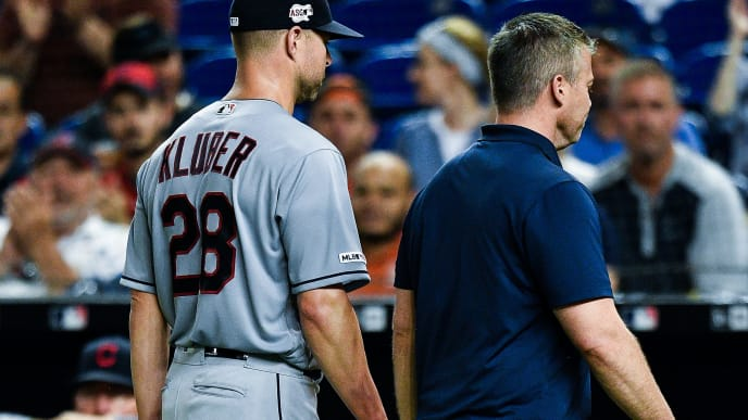 MIAMI, FL - MAY 01: Corey Kluber #28 of the Cleveland Indians leaves the game in the fifth inning after breaking his forearm when he was hit by a line drive against the Miami Marlins at Marlins Park on May 1, 2019 in Miami, Florida. (Photo by Mark Brown/Getty Images)