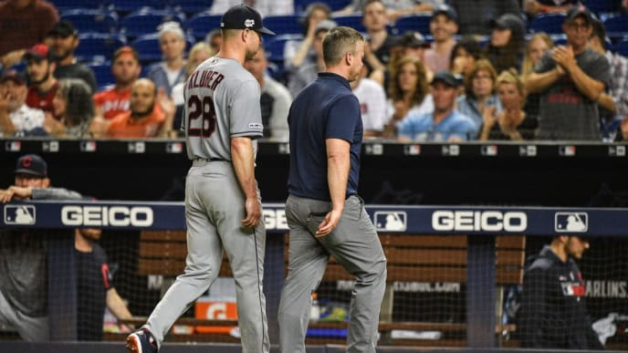 MIAMI, FL - MAY 01: Corey Kluber #28 of the Cleveland Indians leaves the game in the fifth inning due to injury against the Miami Marlins at Marlins Park on May 1, 2019 in Miami, Florida. (Photo by Mark Brown/Getty Images)