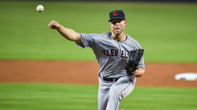 MIAMI, FL - MAY 01: Corey Kluber #28 of the Cleveland Indians delivers a pitch in the first inning against the Miami Marlins at Marlins Park on May 1, 2019 in Miami, Florida. (Photo by Mark Brown/Getty Images)