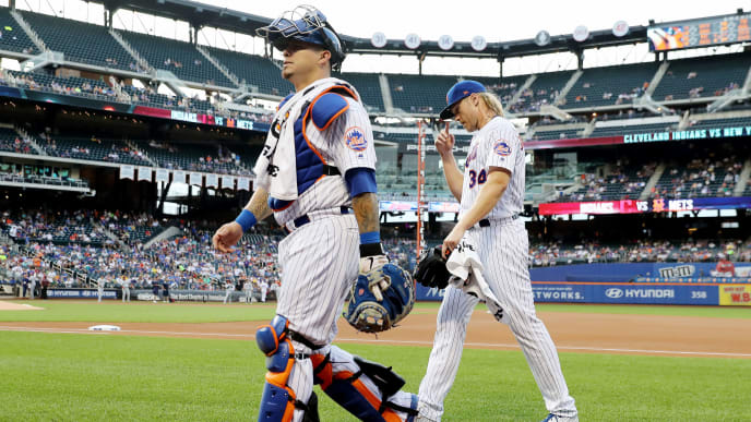 NEW YORK, NEW YORK - AUGUST 22:  Wilson Ramos #40 and Noah Syndergaard #34 of the New York Mets walk in from the bullpen beofre the game against the Cleveland Indians at Citi Field on August 22, 2019 in the Flushing neighborhood of the Queens borough of New York City. (Photo by Elsa/Getty Images)