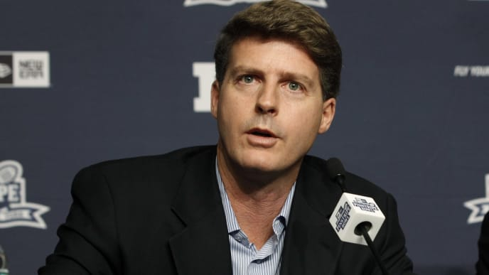NEW YORK, NY - JUNE 3: Hal Steinbrenner, Managing General Partner of the New York Yankees is seen during a press conference to announce the New Era Pinstripe Bowl's eight-year partnership with the Big Ten Conference at Yankees Stadium on June 3, 2013 in the Bronx borough of New York City. (Photo by Jason Szenes/Getty Images)