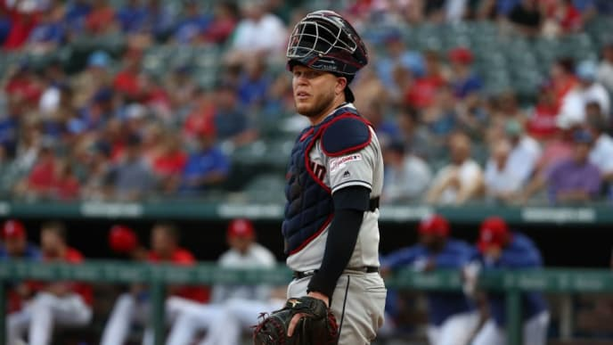 ARLINGTON, TEXAS - JUNE 19:   Roberto Perez #55 of the Cleveland Indians at Globe Life Park in Arlington on June 19, 2019 in Arlington, Texas. (Photo by Ronald Martinez/Getty Images)