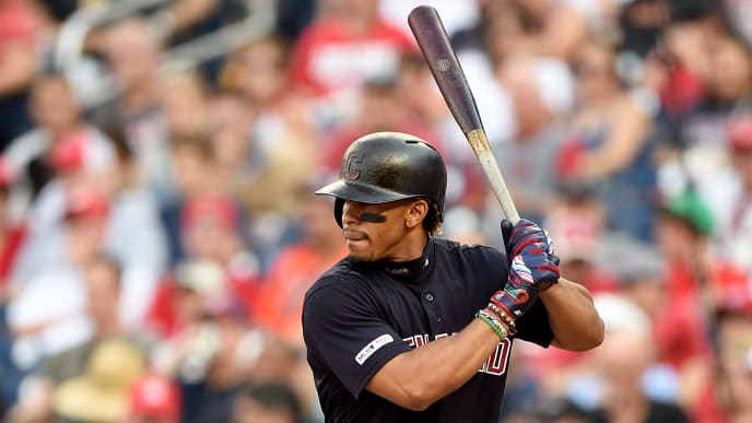 WASHINGTON, DC - SEPTEMBER 29:  Francisco Lindor #12 of the Cleveland Indians bats against the Washington Nationals at Nationals Park on September 29, 2019 in Washington, DC.  (Photo by G Fiume/Getty Images)