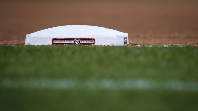 WASHINGTON, DC - SEPTEMBER 28: A view of the third base bag during the seventh inning of the game between the Washington Nationals and the Cleveland Indians at Nationals Park on September 28, 2019 in Washington, DC. (Photo by Scott Taetsch/Getty Images)