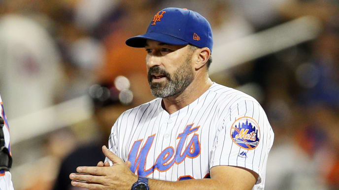 NEW YORK, NY - AUGUST 20: Manager Mickey Callaway #36 of the New York Mets come out to the mound for a pitching change in an interleague MLB baseball game against the Cleveland Indians on August 20, 2018 at Citi Field in the Queens borough of New York City. Mets won 9-2. (Photo by Paul Bereswill/Getty Images)