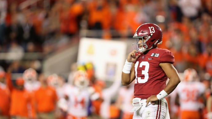 SANTA CLARA, CA - JANUARY 07:  Tua Tagovailoa #13 of the Alabama Crimson Tide reacts against the Clemson Tigers in the CFP National Championship presented by AT&T at Levi's Stadium on January 7, 2019 in Santa Clara, California.  (Photo by Christian Petersen/Getty Images)