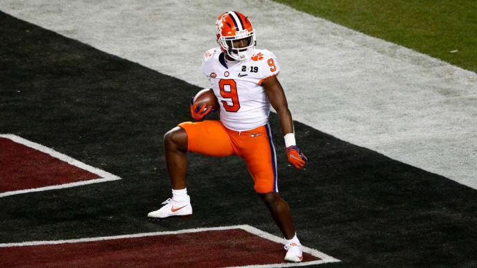 SANTA CLARA, CALIFORNIA - JANUARY 07: Travis Etienne #9 of the Clemson Tigers celebrates his second quarter touchdown against the Alabama Crimson Tide in the College Football Playoff National Championship at Levi's Stadium on January 07, 2019 in Santa Clara, California. (Photo by Lachlan Cunningham/Getty Images)