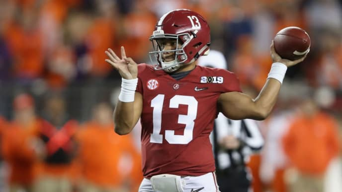 SANTA CLARA, CA - JANUARY 07:  Tua Tagovailoa #13 of the Alabama Crimson Tide attempts a pass against the Clemson Tigers during the second half in the CFP National Championship presented by AT&T at Levi's Stadium on January 7, 2019 in Santa Clara, California.  (Photo by Sean M. Haffey/Getty Images)
