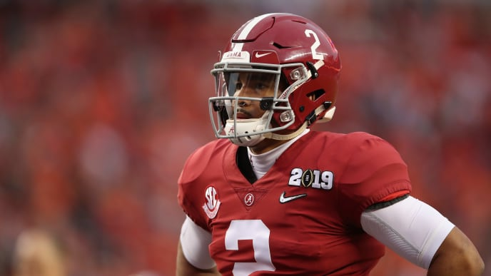 SANTA CLARA, CA - JANUARY 07:  Jalen Hurts #2 of the Alabama Crimson Tide warms up prior to the CFP National Championship against the Clemson Tigers presented by AT&T at Levi's Stadium on January 7, 2019 in Santa Clara, California.  (Photo by Christian Petersen/Getty Images)
