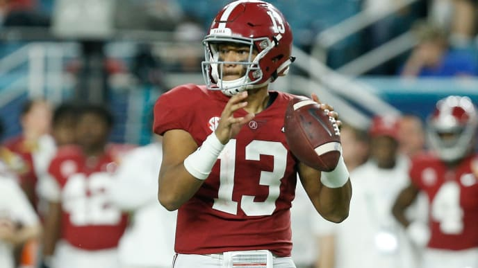 MIAMI, FL - DECEMBER 29:  Tua Tagovailoa #13 of the Alabama Crimson Tide looks to pass against the Oklahoma Sooners during the College Football Playoff Semifinal at the Capital One Orange Bowl at Hard Rock Stadium on December 29, 2018 in Miami, Florida.  (Photo by Michael Reaves/Getty Images)