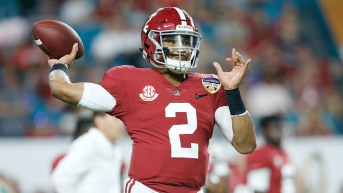 MIAMI, FL - DECEMBER 29:  Jalen Hurts #2 of the Alabama Crimson Tide warms up prior to the game against the Oklahoma Sooners during the College Football Playoff Semifinal at the Capital One Orange Bowl at Hard Rock Stadium on December 29, 2018 in Miami, Florida.  (Photo by Michael Reaves/Getty Images)