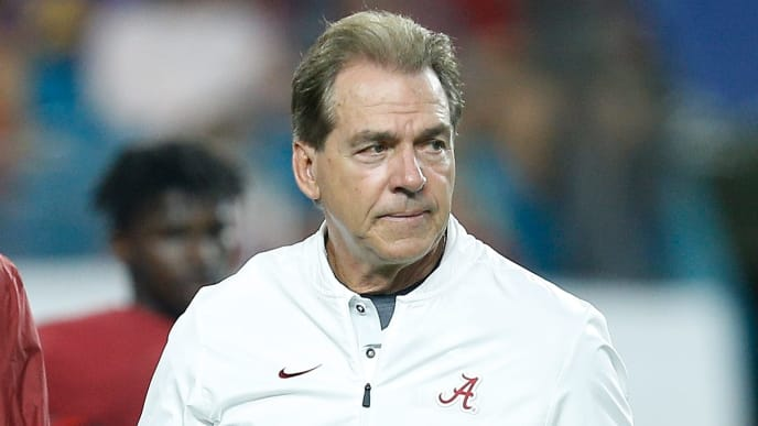 MIAMI, FL - DECEMBER 29:  Head coach Nick Saban of the Alabama Crimson Tide looks on prior to the game against the Oklahoma Sooners during the College Football Playoff Semifinal at the Capital One Orange Bowl at Hard Rock Stadium on December 29, 2018 in Miami, Florida.  (Photo by Michael Reaves/Getty Images)