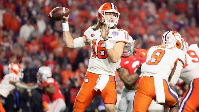 Trevor Lawrence threw 36 TDs to 8 INTs in 2019.