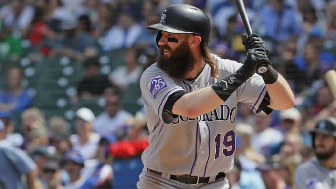 CHICAGO, IL - MAY 02:  Charlie Blackmon #19 of the Colorado Rockies bats against the Chicago Cubs at Wrigley Field on May 2, 2018 in Chicago, Illinois. The Rockies defeated the Cubs 11-2.  (Photo by Jonathan Daniel/Getty Images)
