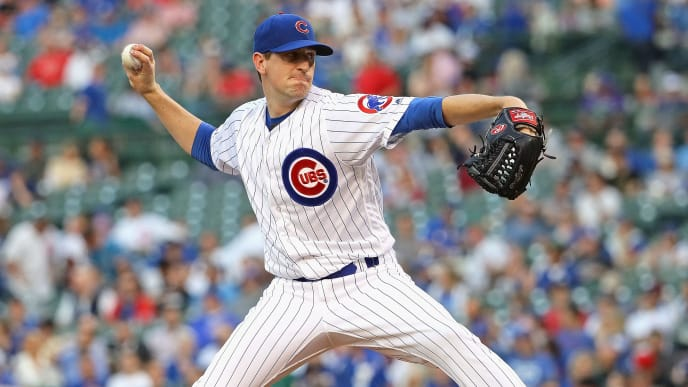 CHICAGO, ILLINOIS - JUNE 04: Starting pitcher Kyle Hendricks #28 of the Chicago Cubs delivers the ball against the Colorado Rockies at Wrigley Field on June 04, 2019 in Chicago, Illinois. (Photo by Jonathan Daniel/Getty Images)