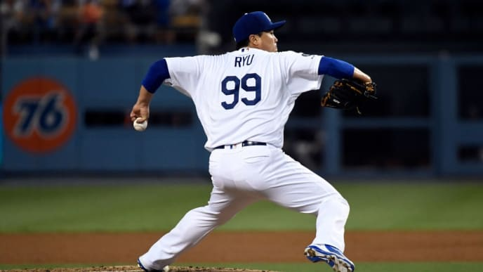 LOS ANGELES, CA - SEPTEMBER 04: Pitcher Hyun-Jin Ryu #99 of the Los Angeles Dodgers throws against the Colorado Rockies during the fourth inning at Dodger Stadium on September 4, 2019 in Los Angeles, California. (Photo by Kevork Djansezian/Getty Images)
