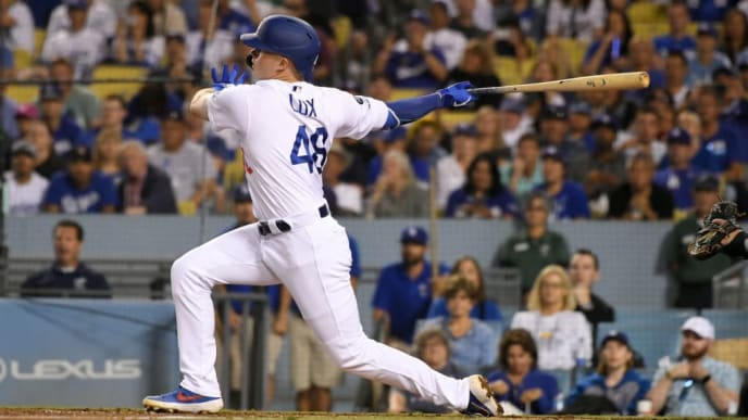 LOS ANGELES, CA - SEPTEMBER 21: Gavin Lux #48 of the Los Angeles Dodgers at bat against the Colorado Rockies at Dodger Stadium on September 21, 2019 in Los Angeles, California. the Colorado Rockies won 4-2. (Photo by John McCoy/Getty Images)